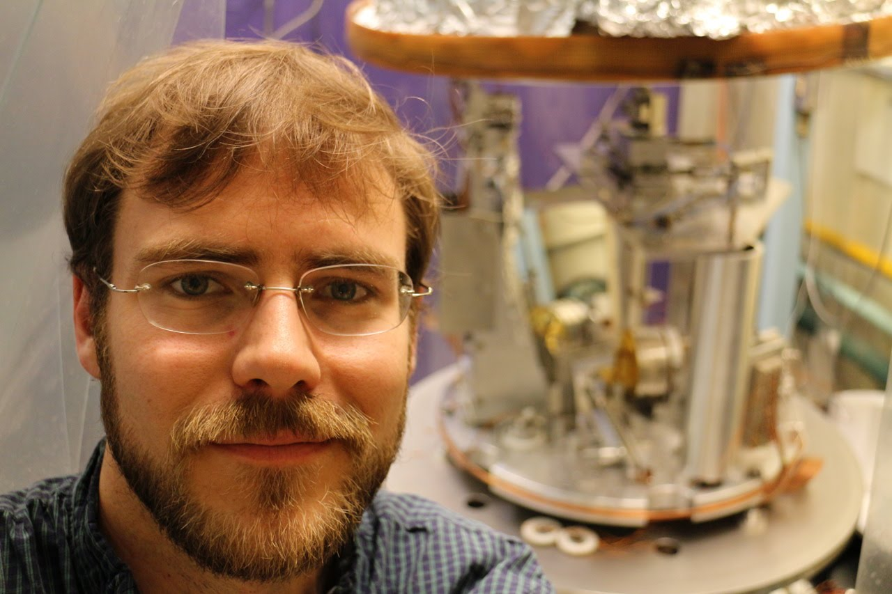 Charlie Hagedorn in front of the PlateWash parallel-plate test of gravity